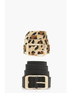 Two Pack Leopard And Suedette Boyfriend Belts by Boohoo