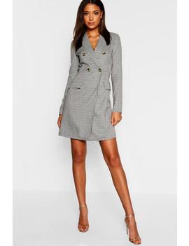 Tall Tweed Mock Horn Button Blazer Dress by Boohoo