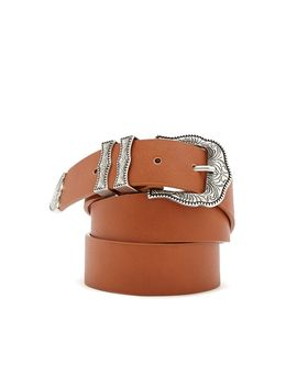 Faux Leather Etched Hip Belt by Forever 21