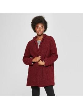Women's Fashion Teddy Bear Coat   A New Day™ Burgundy by A New Day