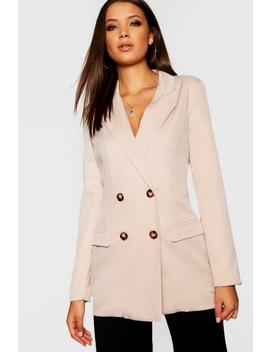 Tall Mock Horn Button Double Breasted Blazer by Boohoo