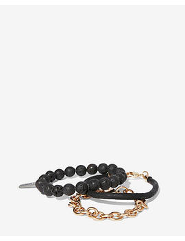 Set Of Three Bead Leather Chain Bracelets by Express