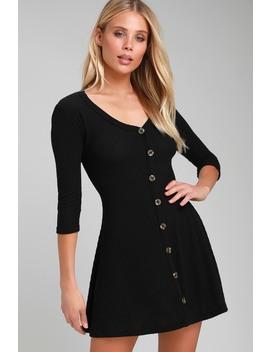 Splendid Style Black Button Front Knit Swing Dress by Lulus