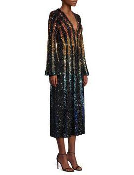 Camille Rainbow Sequin Silk A Line Midi Dress by Saloni