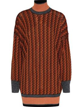 Metallic Jacquard Knit Turleneck Sweater by By Malene Birger