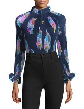 Graphic Print Pleated Crop Top by Tibi