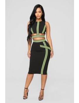 Neon Lights Skirt Set   Black/Neon Green by Fashion Nova