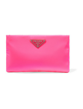 Small Neon Leather Trimmed Shell Pouch by Prada