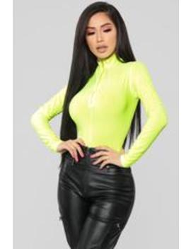 Stay Away Bodysuit   Neon Yellow by Fashion Nova