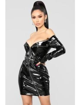 Don't Tempt Me Latex Dress   Black by Fashion Nova
