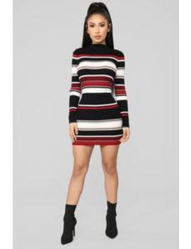 Amanda Stripe Sweater Dress   Black/Red by Fashion Nova