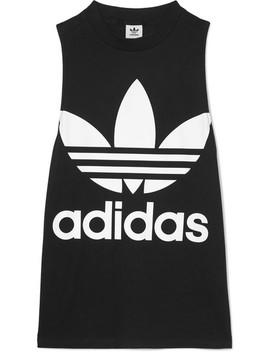 Trefoil Printed Stretch Cotton Jersey Tank by Adidas Originals