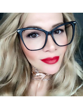 Large Glossy Fearless Cat Eye Clear Lens Big Sexy Geek Hot Eye Glasses Frames L by Fashion