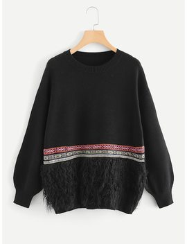 Tape Patched Fringe Hem Jumper by Shein