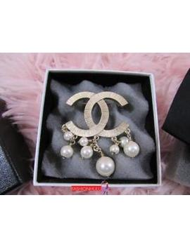 2011 Chanel A44720 Gold Cc Faux Pearl Drop Brooch by Chanel