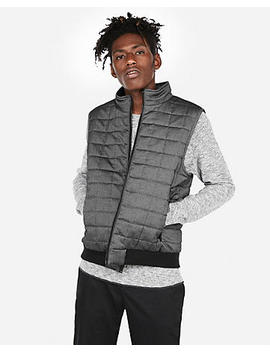 Quilted Zip Front Vest by Express