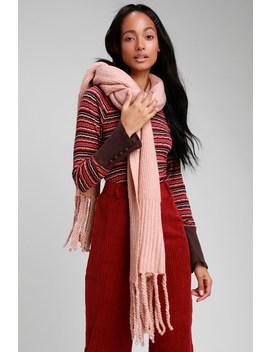 Jaden Pink Ribbed Fringe Blanket Scarf by Free People