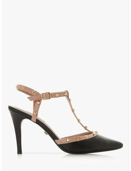 Dune Catelyn Studded T Bar Court Shoes, Black Leather by Dune