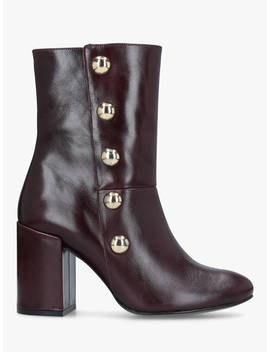 Carvela Soldier Studded Ankle Boots, Red Leather by Carvela