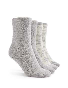Solid & Fair Isle Pattern Plush Socks  2 Pack by Forever 21