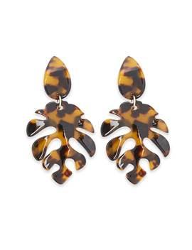 Tortoiseshell Monstera Leaf Drop Earrings by Forever 21