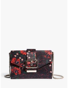 Karen Millen Floral Buckle Envelope Clutch Bag, Black/Multi by Karen Millen