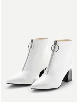 Zipper Front Point Toe Ankle Boots by Sheinside