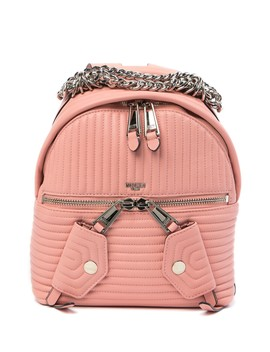 Leather Topstitched Chain Backpack by Moschino