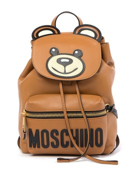 Leather Teddy Bear Brand Logo Backpack by Moschino