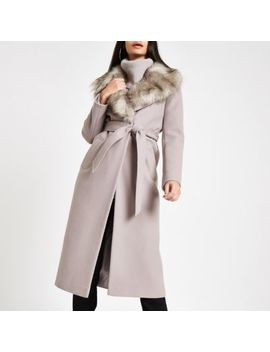 Grey Belted Faux Fur Robe Coat by River Island