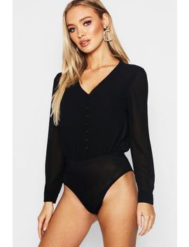 Button Through Woven Chiffon Bodysuit by Boohoo