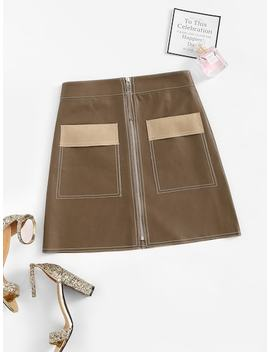 Zip Front Pocket Skirt by Sheinside
