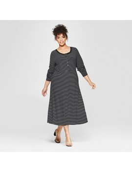 Women's Plus Size Button Down Rib Midi Dress   Who What Wear™ by Who What Wear