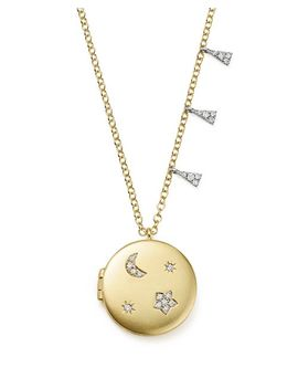 "14 K White And Yellow Gold Diamond Moon And Star Locket Necklace, 16"" by Meira T"