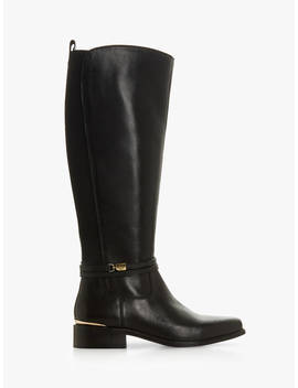 Dune Traviss Knee Boots, Black Leather by Dune