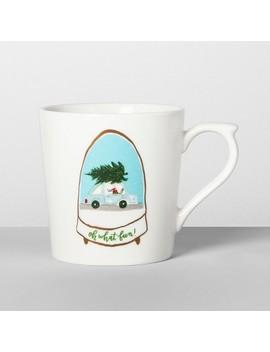 16oz Porcelain Car And Tree Snow Globe Mug White   Opalhouse™ by Opalhouse
