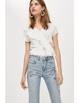 Petite Floral Embroidered Straight Jeans by Topshop