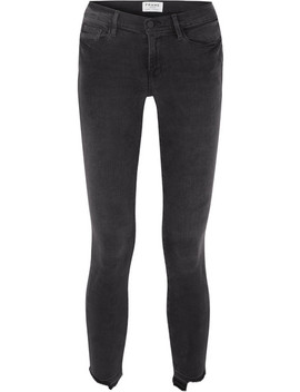 Le Skinny De Jeanne Crop Distressed Mid Rise Jeans by Frame