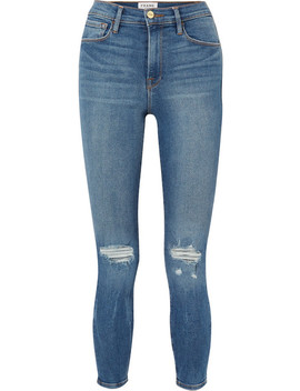 Ali Distressed High Rise Skinny Jeans by Frame