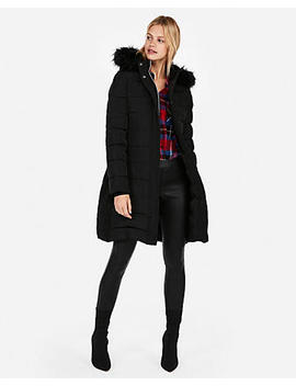 Petite Long Belted Puffer Jacket by Express