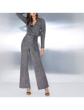 Silver Glitter Wrap Frill Belted Jumpsuit by River Island