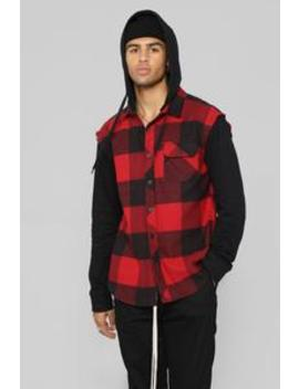No Connection Long Sleeve Hooded Flannel Top   Black/Red by Fashion Nova