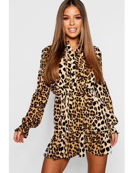 Petite Leopard Print Pussy Bow Smock Dress by Boohoo