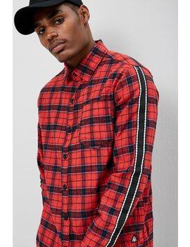 American Stitch Striped Trim Plaid Shirt by Forever 21