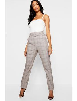 Tall Check High Waisted Belted Trousers by Boohoo