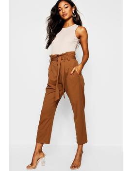 Woven Button Tie Detail Trouser by Boohoo