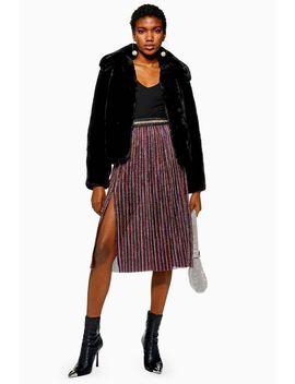 Petite Metallic Plisse Midi Skirt by Topshop