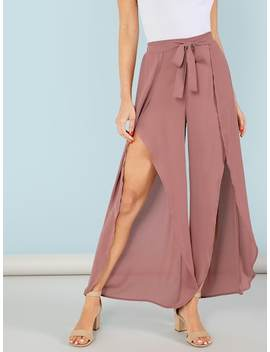 Tie Waist Split Wide Leg Pants by Shein
