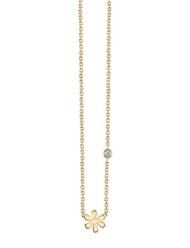 14 K Yellow Gold Plated Sterling Silver Diamond Daisy Pendant Necklace   0.015 Ctw by Syd By Sydney Evan