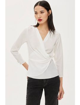 Knot Front 3/4 Sleeve Blouse by Topshop